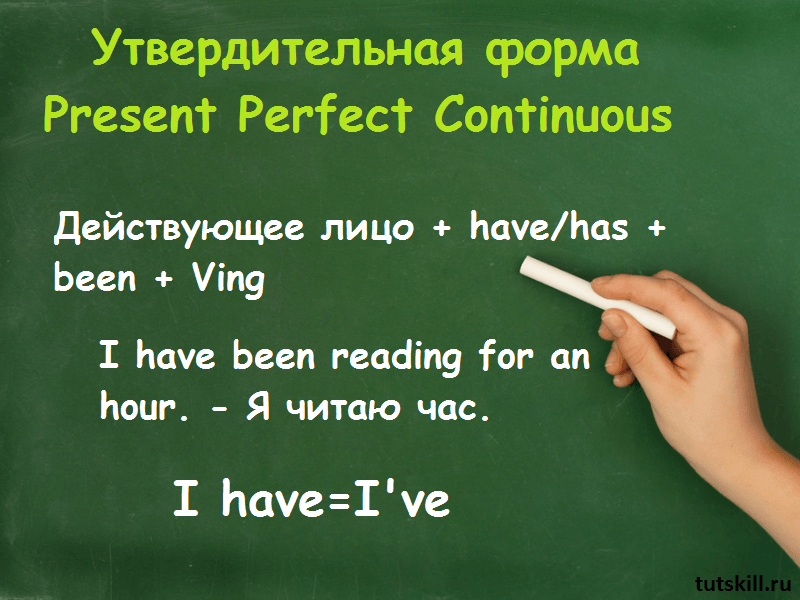 Утвердительная форма Present Perfect Continuous фото