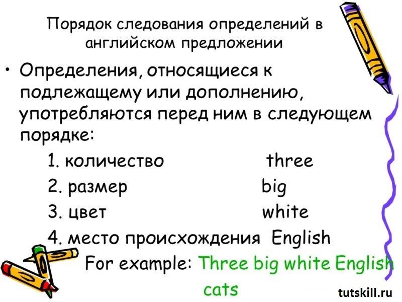 Определения в английском предложении фото