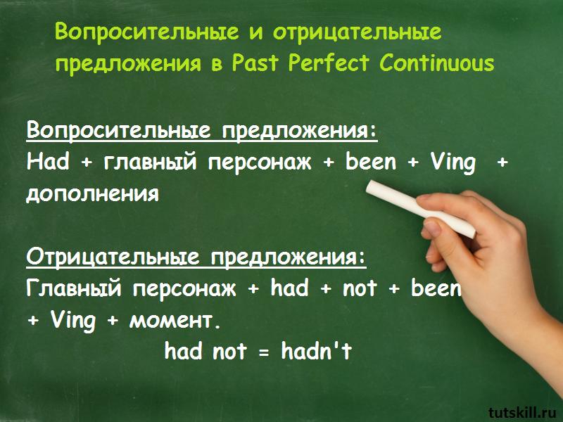 Как составить предложения в Past Perfect Continuous фото