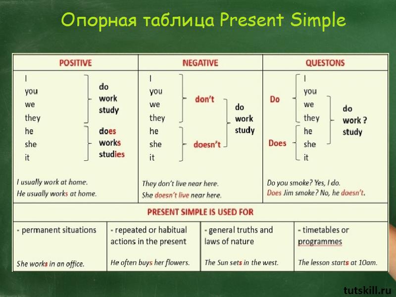 глаголы в Present Simple
