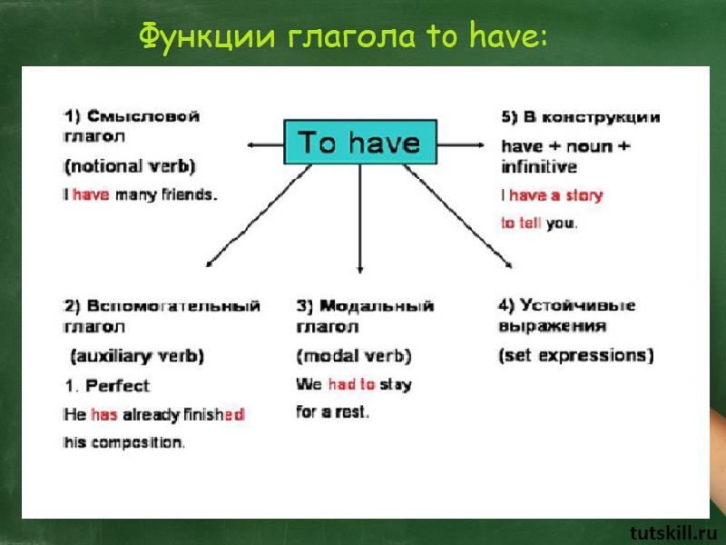 Функции глагола